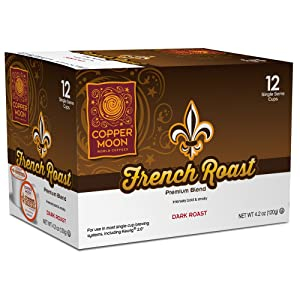 Copper Moon Single Cups for Keurig K-Cup Brewers, French Roast, 12 Count, Dark Roast Coffee, Bold, Smoky, and Complex, Single-Serve Coffee Pods