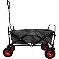 MAXOfit® Faltbarer Bollerwagen mit Luftreifen, Schutzhülle und Bremse | 360° Räder | Handwagen Platzsparend klappbar | bis 70kg, Schwarz