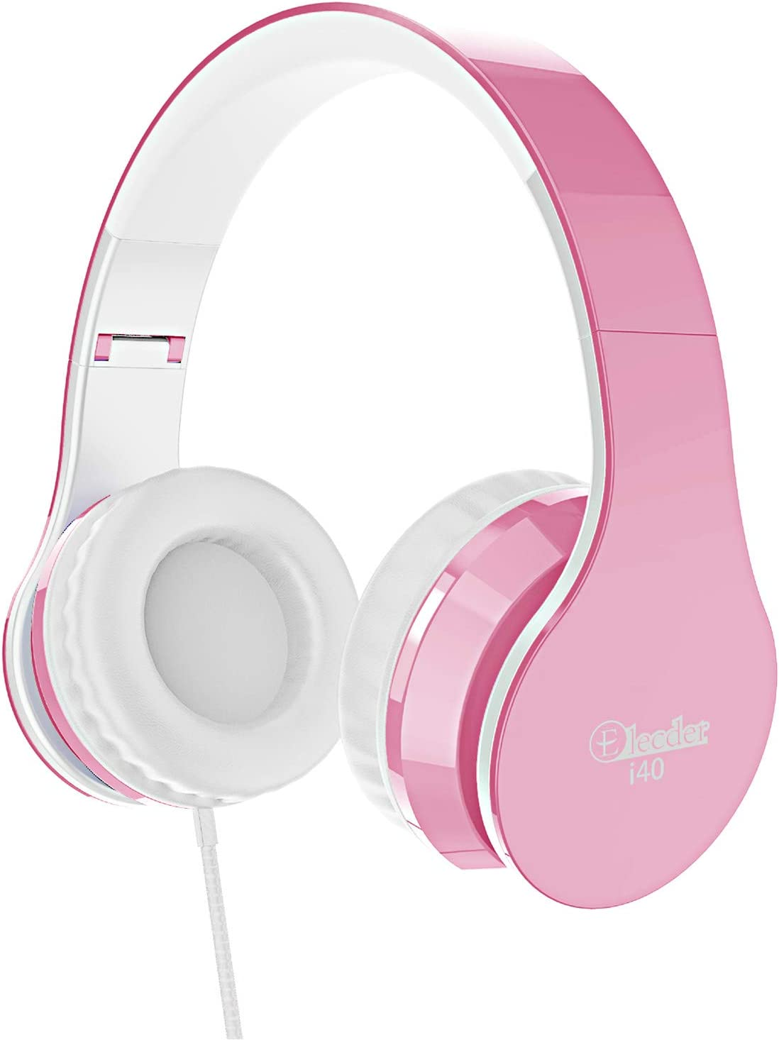 Elecder i40 Headphones with Microphone Foldable Lightweight Adjustable Wired On Ear Headsets with 3.5mm Jack for Cellphones Laptop Computer Smartphones MP3/4 Kindle School (Pink/White)