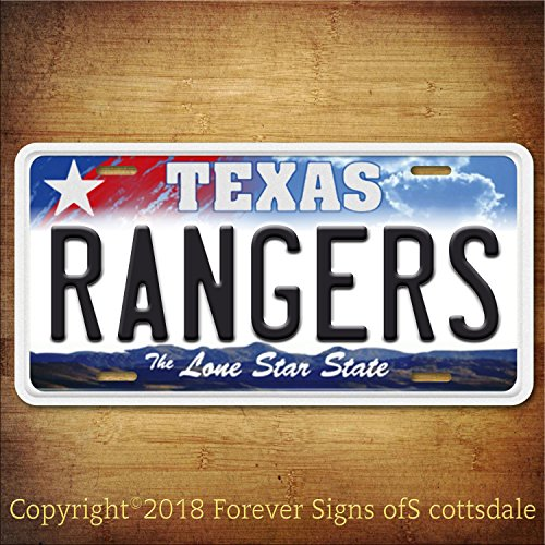 (Forever Signs Of Scottsdale Texas Rangers MLB Baseball Team Texas Aluminum Vanity License)