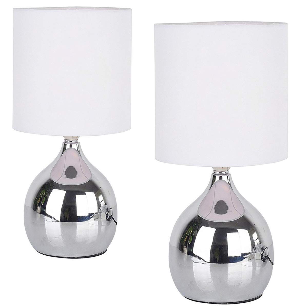 2 Pack Touch Lamps 4 Stage White Chrome Mini Small Table Desk Bedside Light Wide 6 inch Tall 12 inch