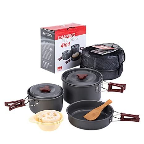 Igo Online Shop 2-3 Person 4 in 1 Camping Pot Set Outdoor Cookware set