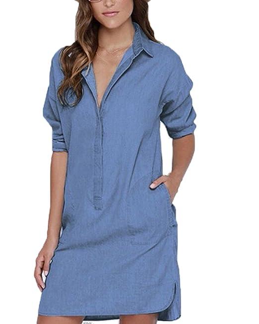 Auxo Camisas Largas Mujer Blusas de Vestidos Algodón Faldas Manga Larga T Shirt V Cuello Azul