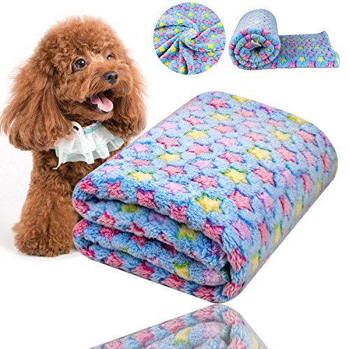 Comsmart Puppy Blanket Warm Dog Cat Coral Velvet Blankets Mat Bed Cover with Star Print Soft Pet Blanket for Puppies Kitties and Other Small Animals