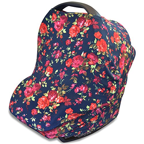 Stretchy 4-in-1 Carseat Canopy | Nursing Cover | Shopping Cart Cover | Infinity Scarf- Vintage Dark Navy Floral Print | Best Baby Gift for Girls | Fits Most Infant Car Seats | For Breastfeeding Moms (Poncho Baby Girl)
