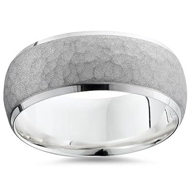 mens 950 platinum 7mm hammered wedding ring band new - Mens Platinum Wedding Rings