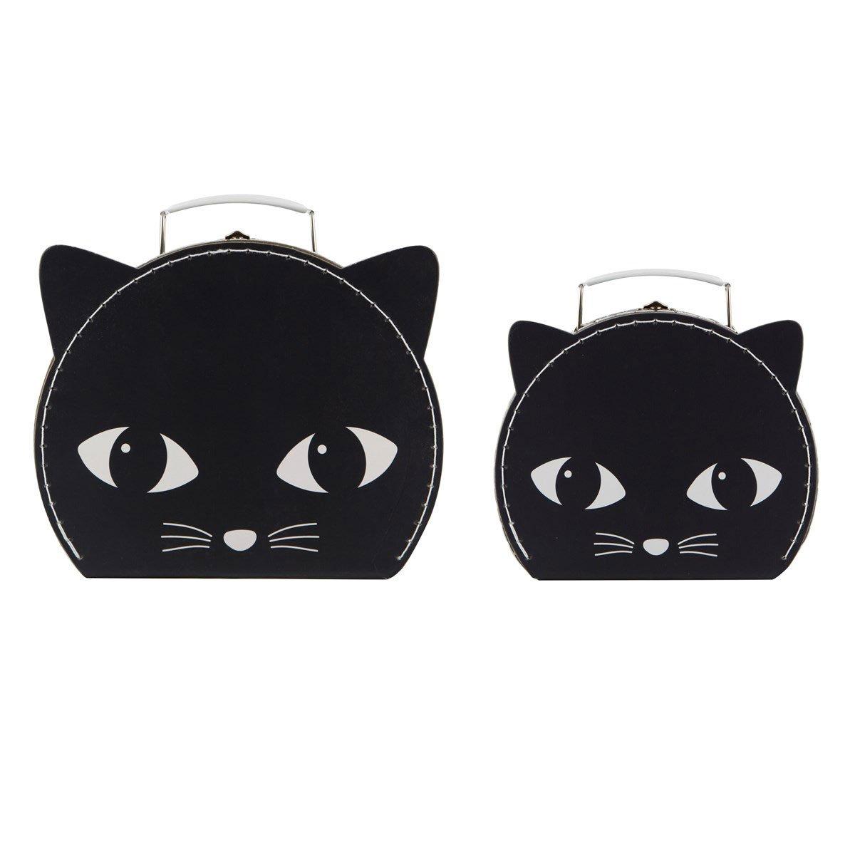 Set di 2Black Cat valigie scatola decorativa con coperchio e manico, beauty case Sass & Belle
