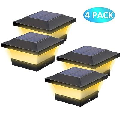 T-SUN Solar Post Cap Lights, Waterproof Outdoor Solar Post Lights for 4 X 4 Wooden Posts, 3000K Warm White LED Lighting, Deck, Patio Garden Decor or Fence(4 Pack): Home Improvement