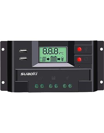 SUAOKI 20A Controlador de Carga Solar, con 12V/24V interruptor automático, Inteligente regulador