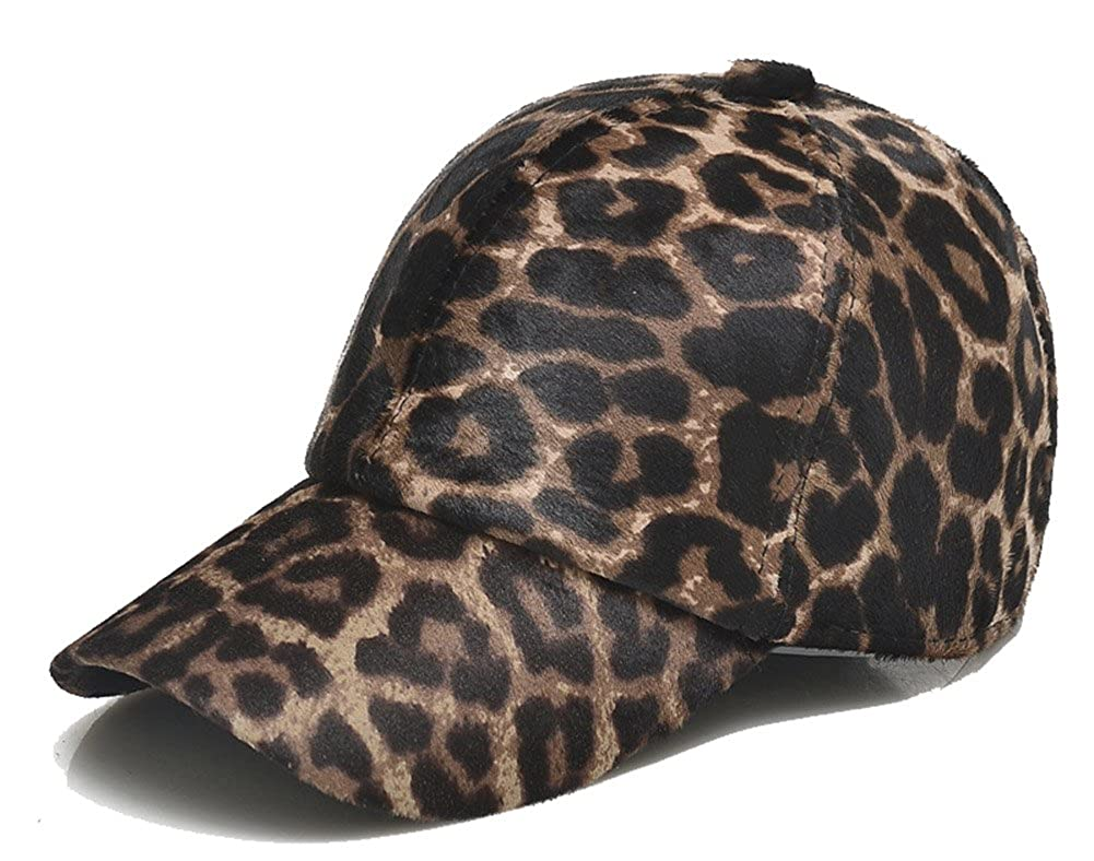 Roffatide Unisex Leopard Print Fur Baseball Cap with Earflaps Winter Peaked Hat RT3042