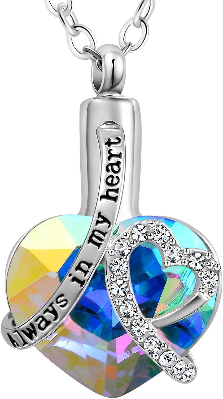 Stainless Steel Heart Always In My Heart Memorial Necklace-Keepsake Urn-Ash Holder-Cremation Jewelry-Heart Pendant Urn