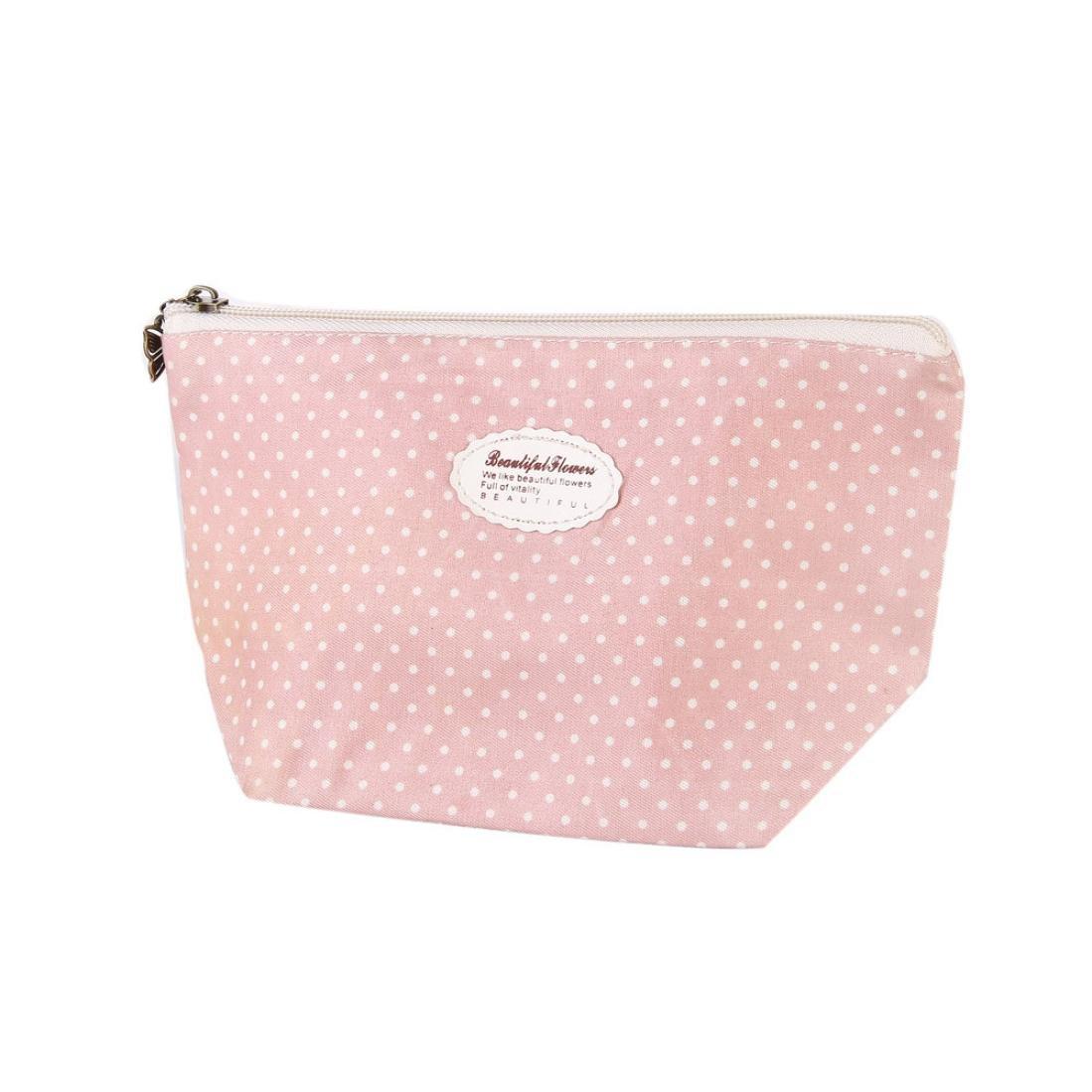 フローラルコスメティックバッグ、beautyvanファッションポータブルトラベルコスメティックバッグメイクアップケースポーチToiletry Washオーガナイザー 22.5*8.5*13cm ベージュ 3256 B0794MZTWC D~pink
