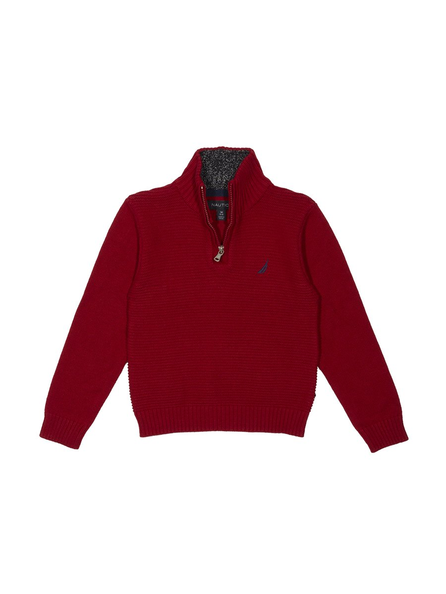 Nautica boys Zip Neck Ottoman Stitch Solid Sweater