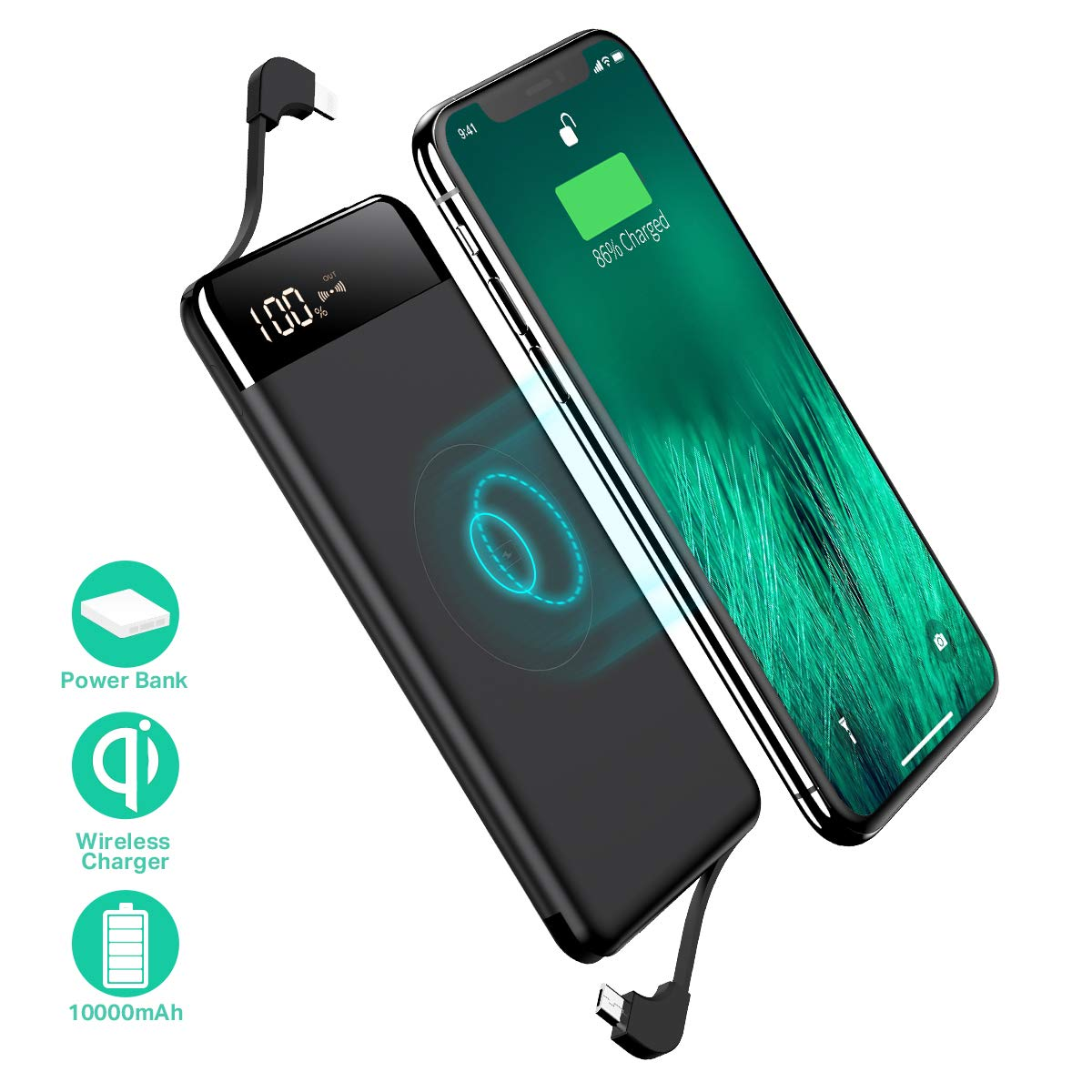 SANAG Wireless Portable Charger, 10000mAh Wireless Charger Power Bank Built in Cable External Battery Pack Compatible with iPhone 8/8 Plus, Samsung S7 S8 S9, Note 7 8, iPhone X/XS/XR(Black) Shenzhen Diyidu Technology Co. Ltd.
