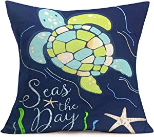 ShareJ Seas The Day Starfish Beach Style Quote Cotton Linen Home Decorative Throw Pillow Case Sea Turtle Cushion Cover for Sofa Couch 18 x 18 INES, Blue