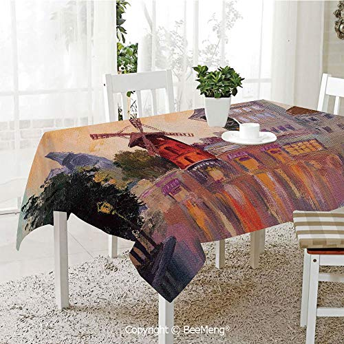 BeeMeng Large dustproof Waterproof Tablecloth,Family Table Decoration,Cityscape,Painting of Moulin Rouge in Paris City Centre of Love Vintage France Artprint Home,Multi,70 x 104 inches ()