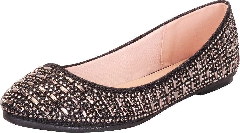 Black Glitter Cambridge Select Women's Round Toe Glitter Crystal Rhinestone Slip-On Ballet Flat
