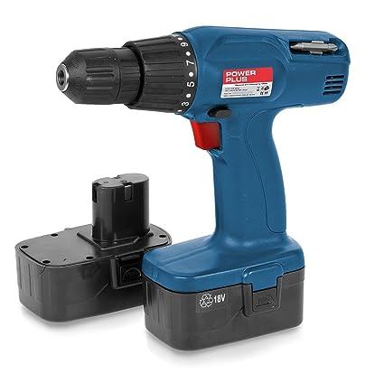 Taladro atornillador de batería 18 V 2 x batería de Cordless screw ...