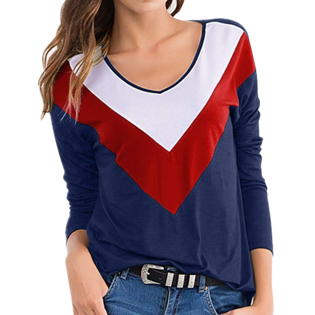 Quartly Women Fashion Long Sleeve Contrast Color Autumn Round Collar Casual Sweatshirt Pullover T-Shirts Loose Top(Blue,S)