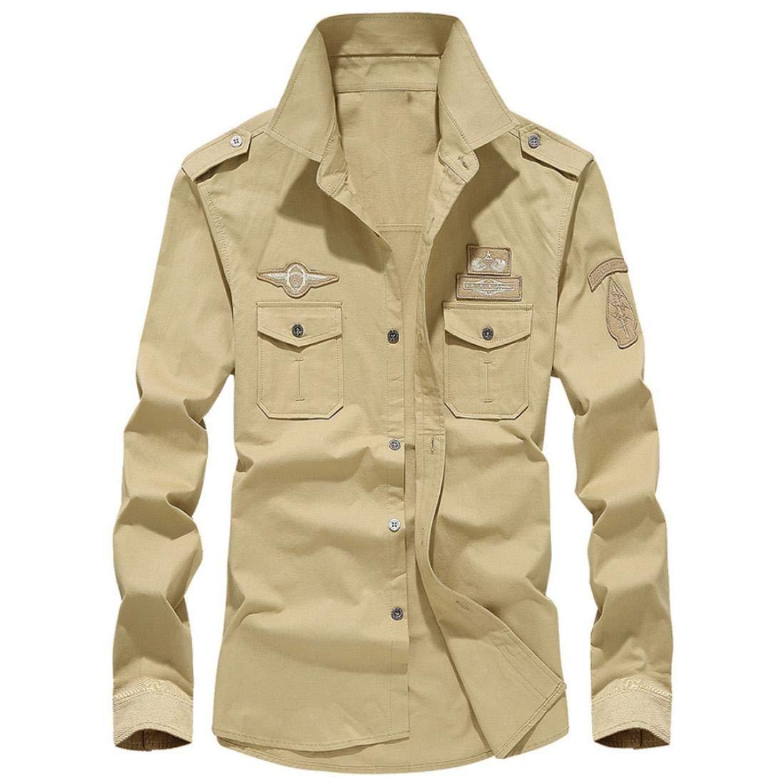 MRULIC Herren Herbst Militär Slim Button Langarm Stehkragen Shirt Top MRULIC Herren Aug