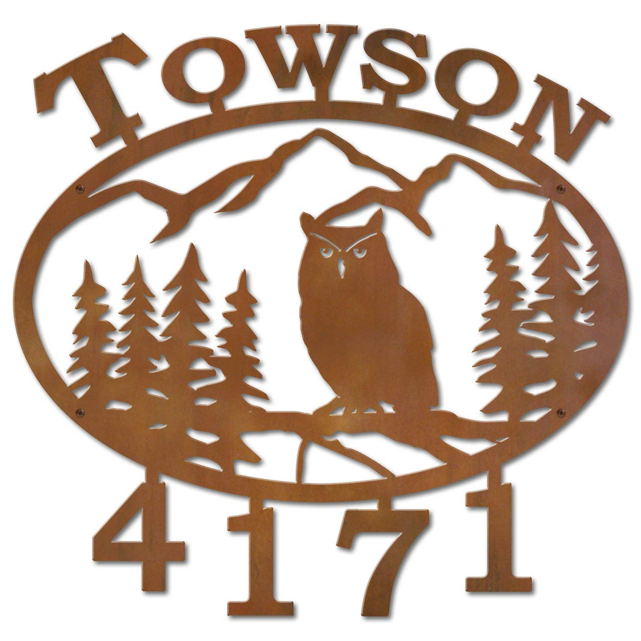 Cold Nose Creations 22in Oval Steel Address Name and Numbers Sign - Lodge Theme Mountain Owl Scene - Rust Metal Finish - Made in USA