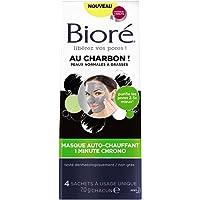 BIORÉ Masque Auto-Chauffant 1 Minute Chrono au Charbon - Lot de 2