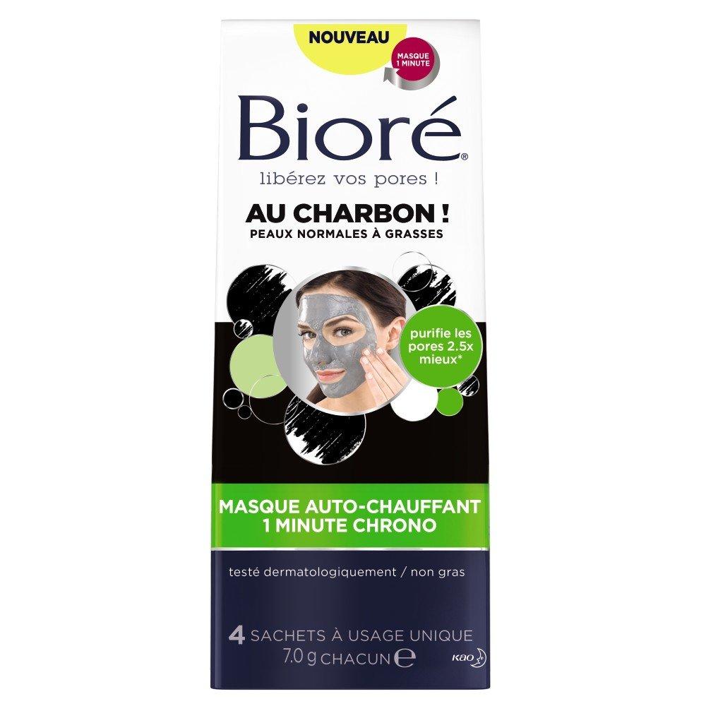 BIORÉ Masque Auto-Chauffant 1 Minute Chrono au Charbon - Lot de 2 2385000