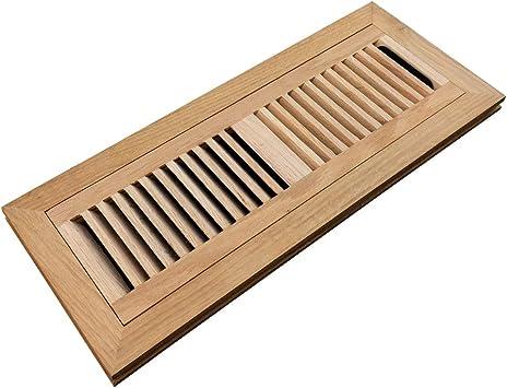 Homewell White Oak Wood Floor Register, Flush Mount Vent with Damper, 4X14 Inch, Unfinished