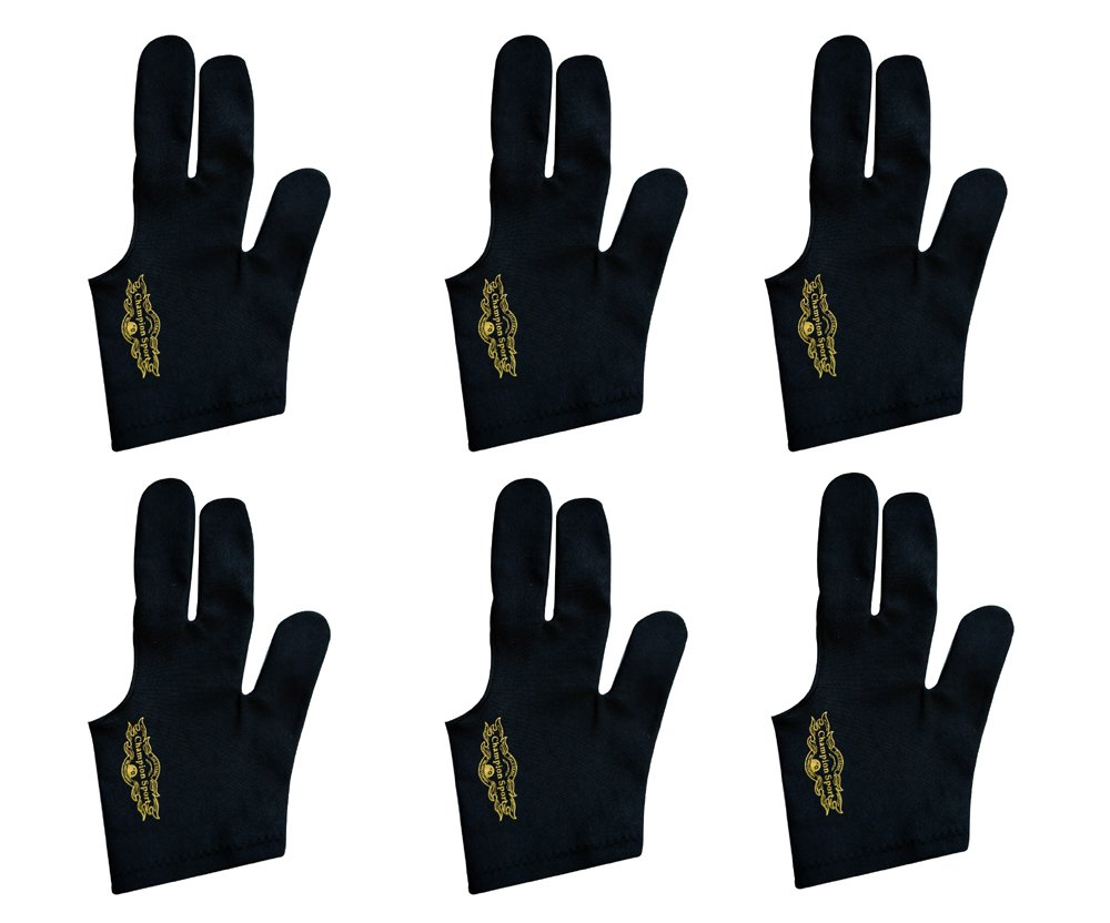 Lot of 6 Champion Sport Black Pool Glove Left Handed (6 Gloves Per Package)