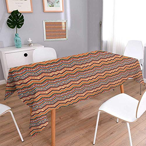 PINAFORE HOME Rectangular Polyester Seamless Colorful Navajo Natural Rectangular Table Cloth for Indoor and Outdoor Use/Rectangle, 60 x 126 -