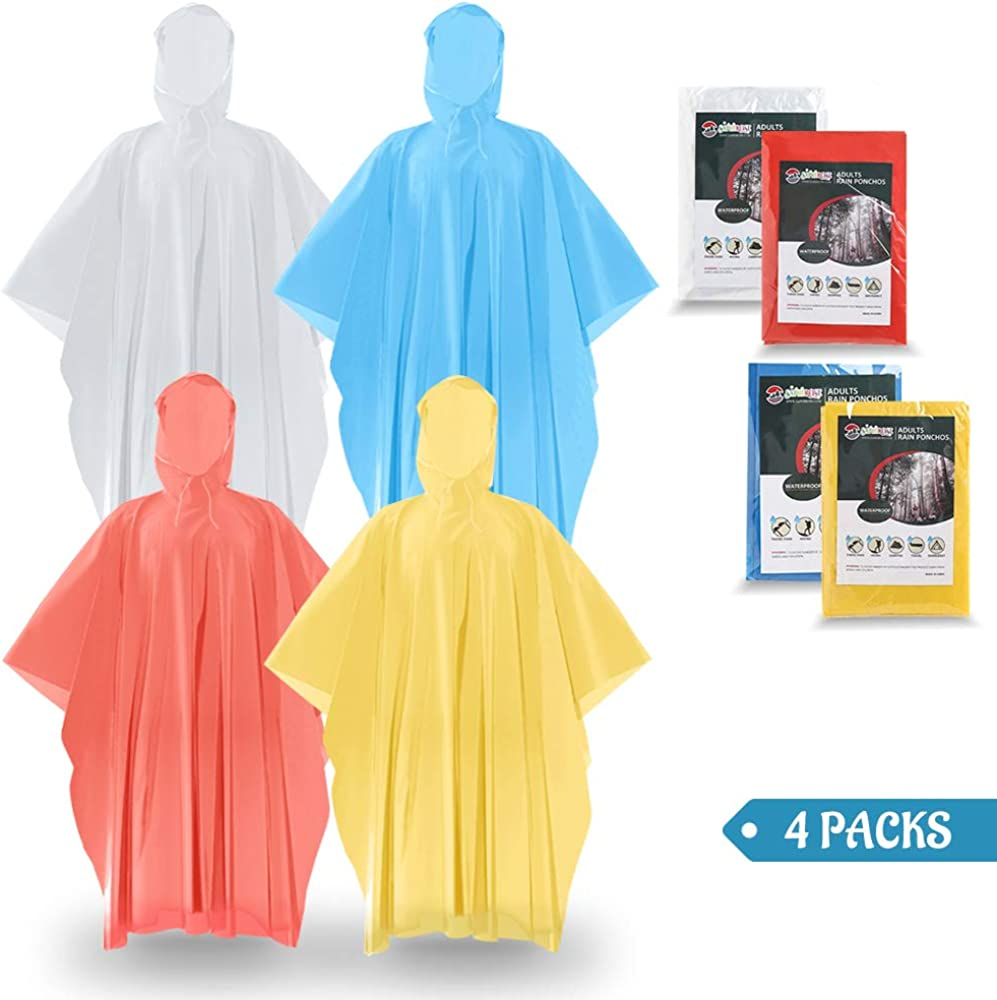 SaphiRose Disposable Ponchos Extra Thick Emergency Raincoats for Men Women