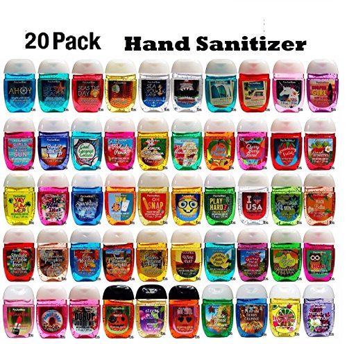 (Bath and Body Works Anti-Bacterial Hand Gel 20-Pack PocketBac Sanitizers, Assorted Scents, 1 fl oz each)