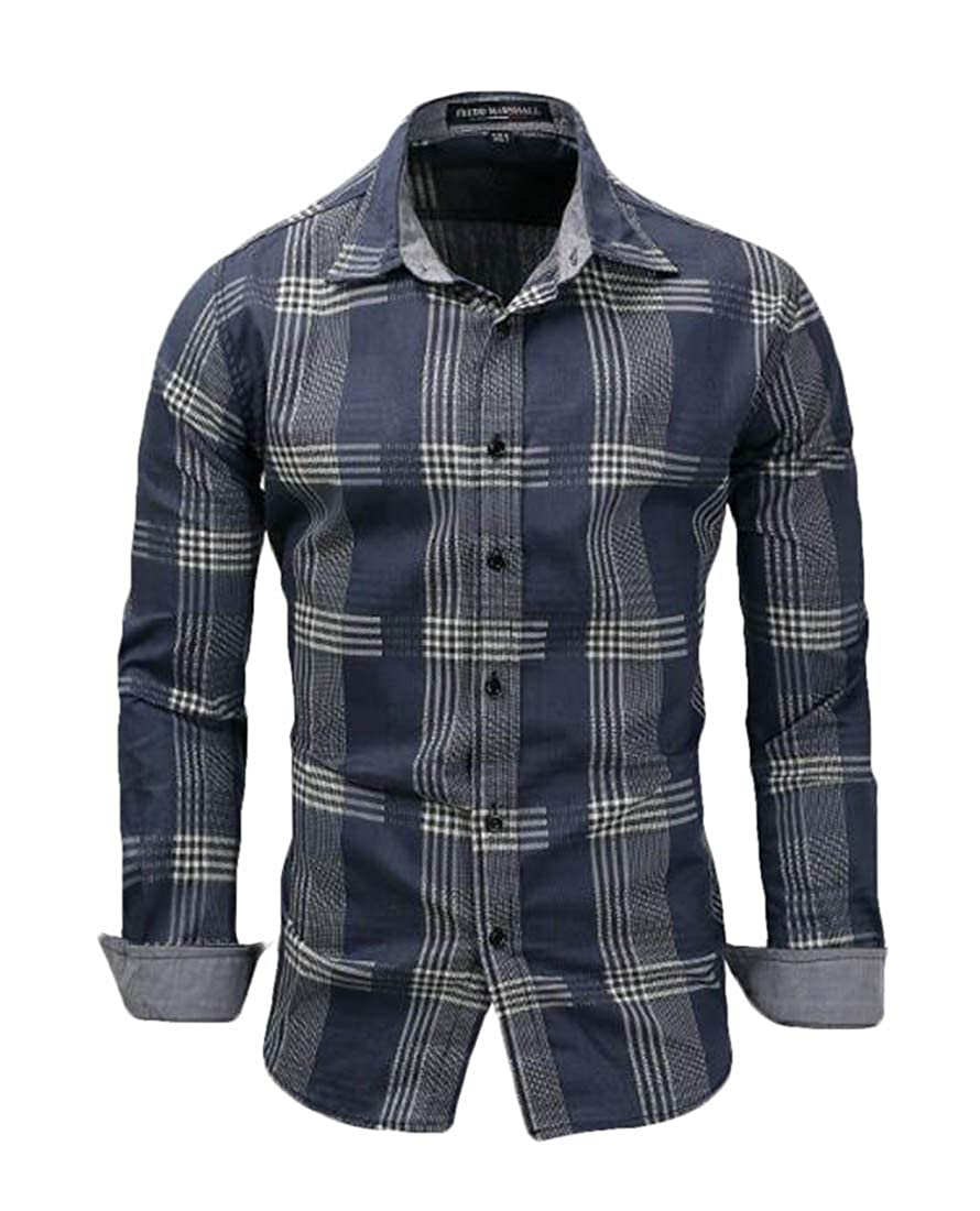 JXG Men Casual Long Sleeve Slim Button Up Plaid Shirts