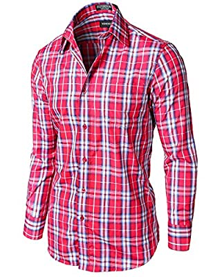 Tonyclo Men's Stylish Plaid Checkered Long Sleeve Dress Shirts