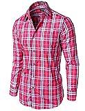 Tonyclo Men's Stylish Plaid Checkered Long Sleeve Dress Shirts