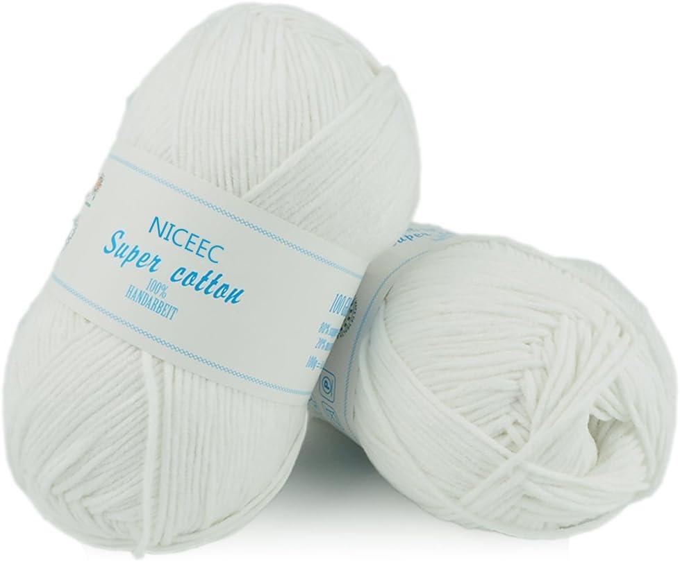 Niceec - 2 madejas de algodón suave para punto y ganchillo, 5 ...