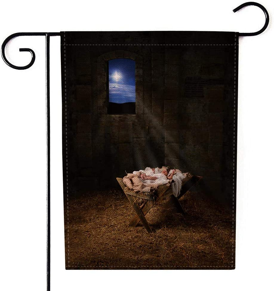 Teepel Welcome Garden Flag,Farm Garden Flag 12.5X18 Inches Baby Jesus Resting Light from The Star Through Window Manger Filters Burlap Yard Outdoor Decoration for Home