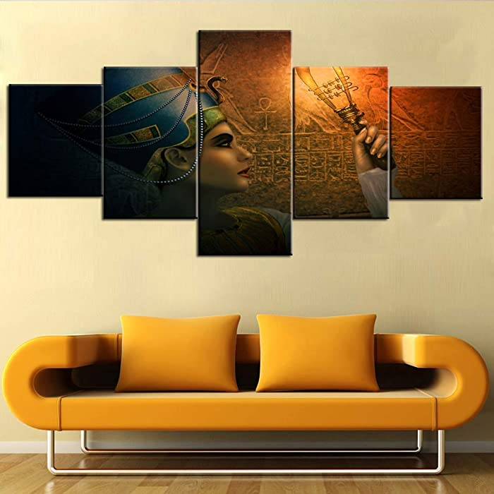 TUMOVO Wall Art for Living Room Egyptian Panels Paintings Cleopatra Pictuers 5 Piece Canvas Modern Artwork Home Decor for Bedroom Office Framed Gallery-Wrapped Stretched Ready to Hang(50''Wx24''H)