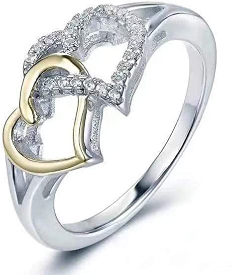 Amazon Com Dearanswer Double Love Rings Valentine S Day