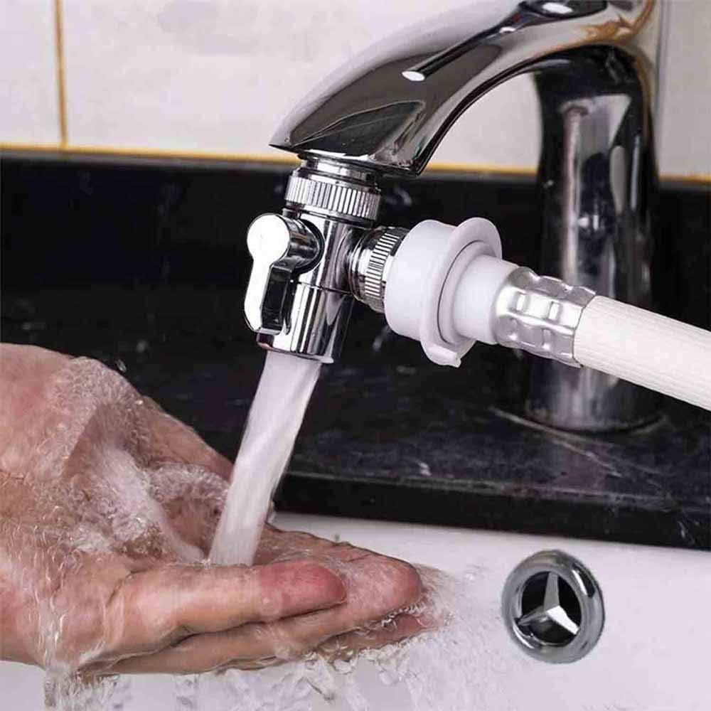 F/ür K/üche Oder Waschbecken Wasserhahn Zu Schlauch Adapter Ersatzteil Massives Chrom Poliert Silber WJUAN 3-Wege Ventil Umstellventil Umschalter