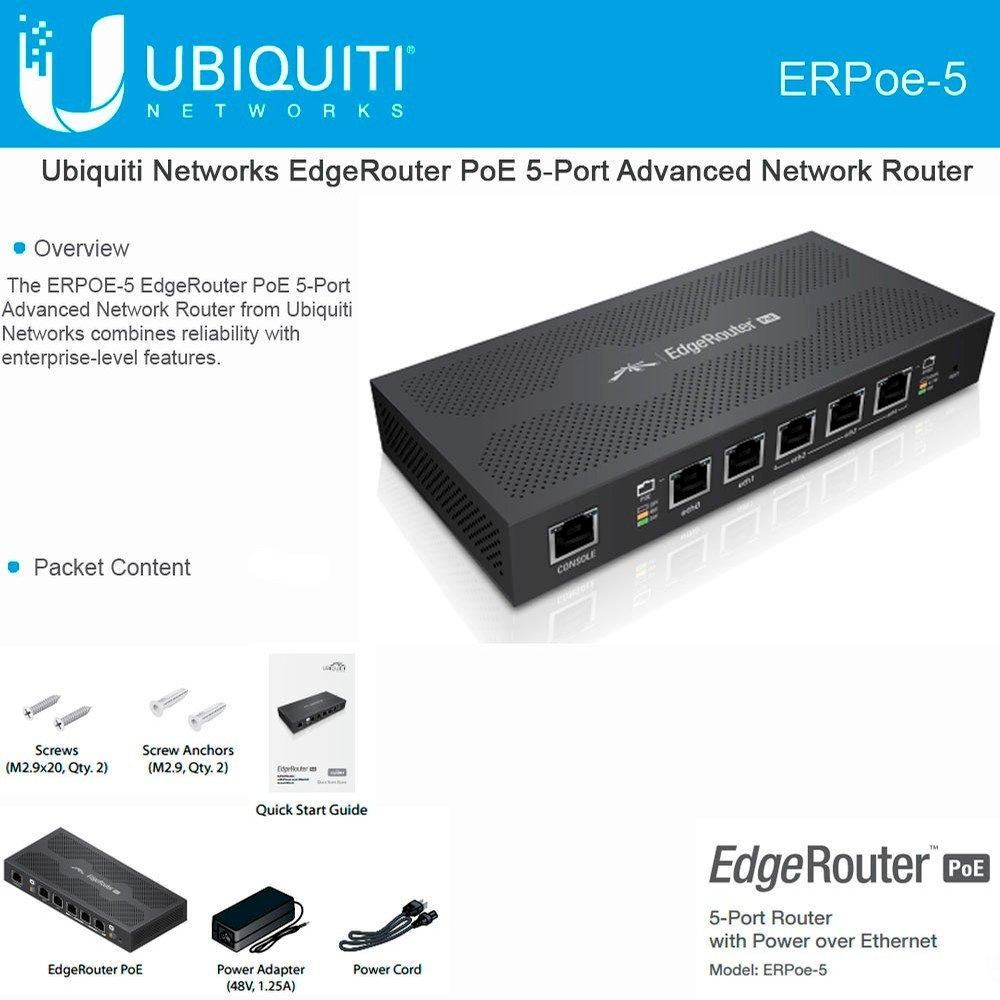 Ubiquiti ERPoe-5 EdgeRouter PoE 48V 5 Gigabit ports 5x10/100/1000 EdgeOS Router