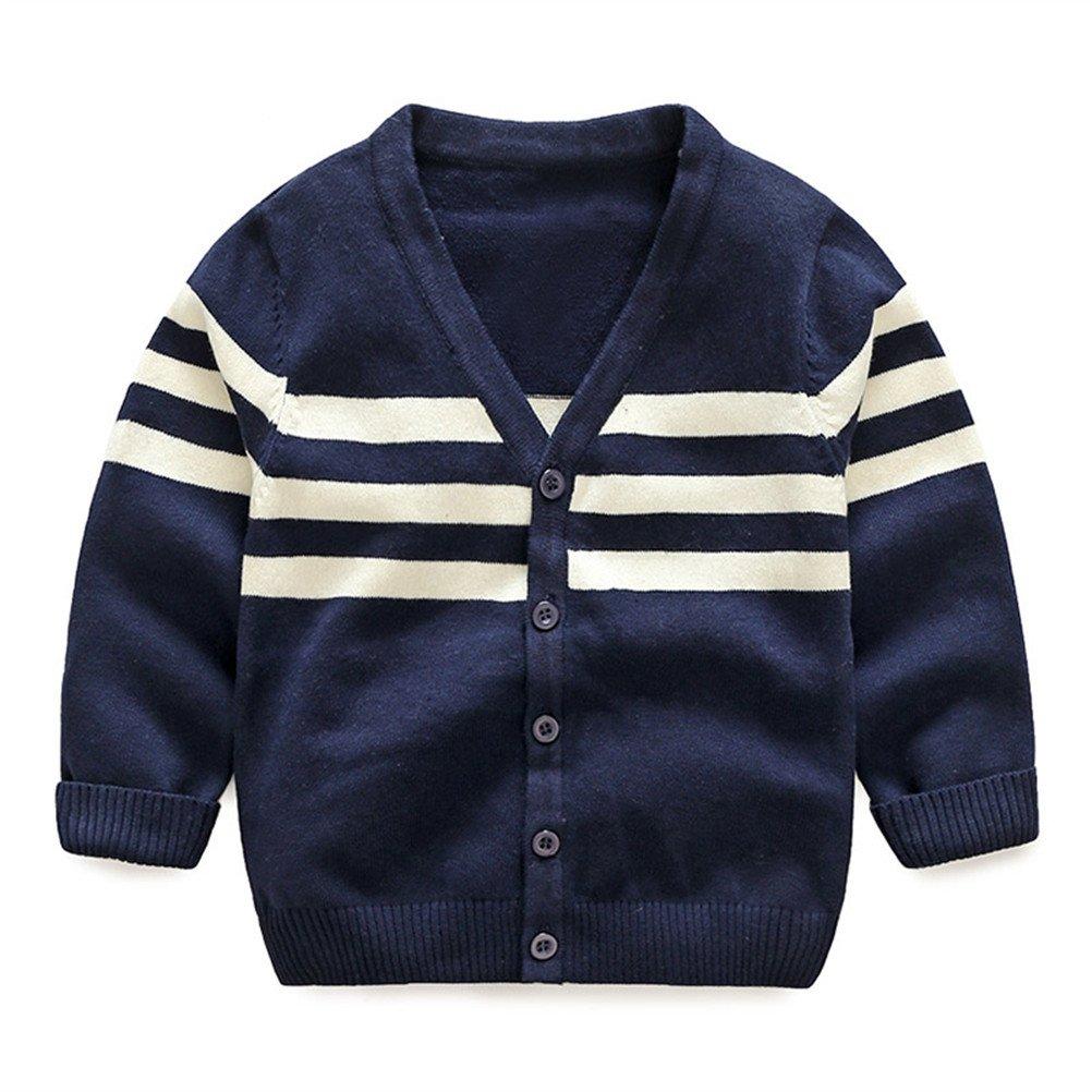 UWESPRING Kids Boys Classic Stripe Cardigan Tops Knit V-Neck Sweater Long Sleeve Coat 2T Navy