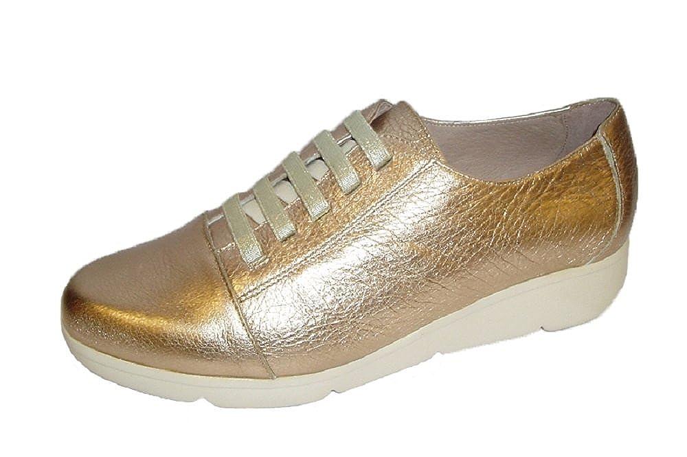 Wonders 7425, Zapato Mujer Piel Oro Cordones Elásticos 41 EU