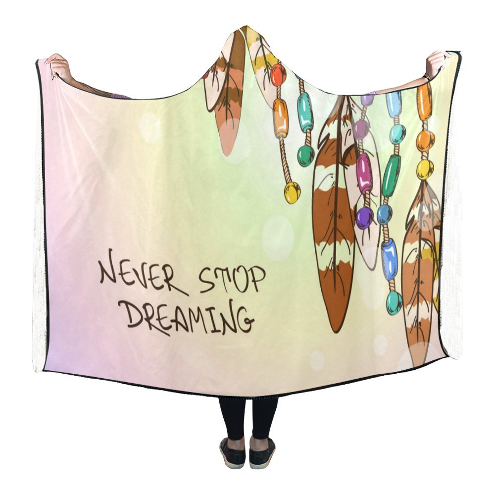 Artsadd Custom Hooded Throw Wrap Abstract Art The Fox Hooded Wearable Blanket 80x56 Inch Comfortable Soft