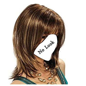 Danlier Layered Bob Wigs Brown Shoulder Length Wigs With Bangs And Highlights