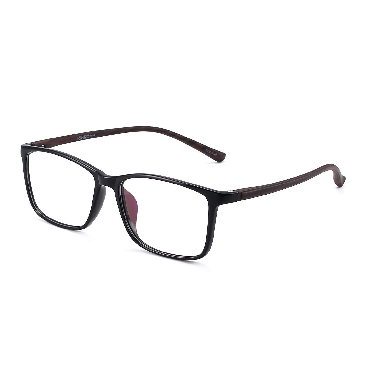 483d5a6613b Amazon.com  Retro Light TR Rectangular Optical Frame Rx-able Eyeglasses  Glasses Women Men Black  Clothing