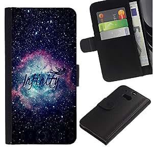 Billetera de Cuero Caso del tirón Titular de la tarjeta Carcasa Funda del zurriago para HTC One M8 / Business Style Universe Cosmos Text Awe Inspiring