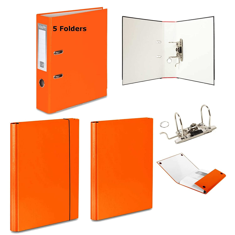 5 x naranja - Archivador de palanca + 2 duro carpetas - 1 velcro banda de goma + 1 - 15 colores documento oficina: Amazon.es: Oficina y papelería