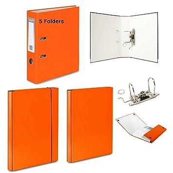 5 x naranja – Archivador de palanca + 2 duro carpetas – 1 velcro banda de