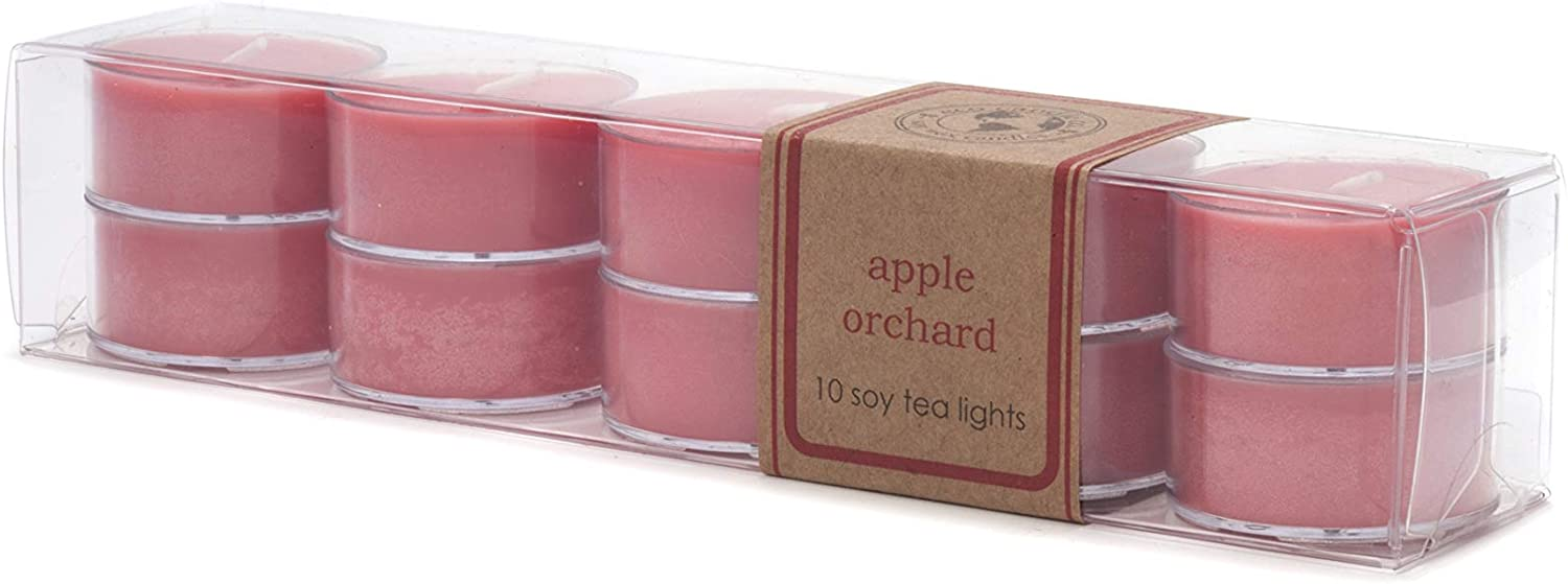 Eco Candle Co. Tea Light Candles, Apple Orchard, 10-Pack - Scents of Crisp & Juicy Apples - Recyclable, 100% Soy Wax, No Lead, Hand Poured, Made from Midwest Grown Soybeans, .6 oz. Each
